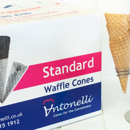 Antonelli waffle cones, available wholesale via Rays Ice Cream, Swindon