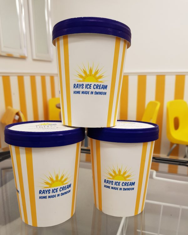 3 500ml tubs of Rays Ice Cream, home made in Swindon