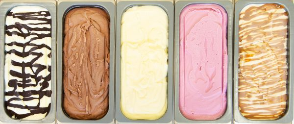 Display photo of 5 colourful napolis of ice cream, home made in Swindon by Rays Ice Cream