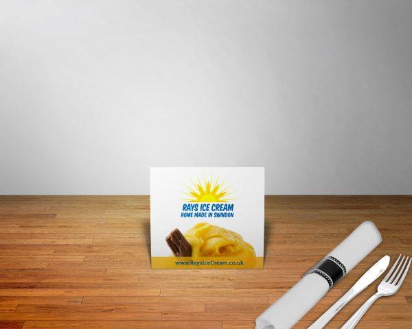 Table tent card showing Rays Ice Cream, Swindon's logo