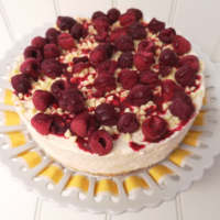 Whole raspberry and white chocolate cheesecake home made by Rays Ice Cream, Swindon